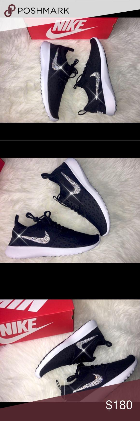 Black · Bling Swarovski Nike Juvenate Black Sneakers ...