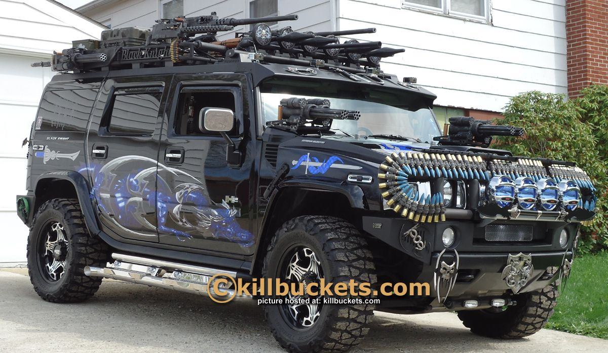 Totally kitted out for zombie hunting and supply runs, this Hummer