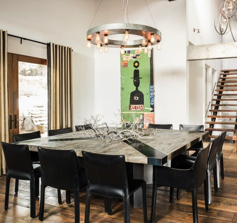 Tahoe Ski Retreat With Interior Design By Antonio Martins With Images Eclectic Dining Room Square Dining Room Table Square Dining Tables