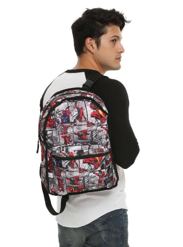 Reversible backpack from Marvel with a Deadpool mask design on one ...