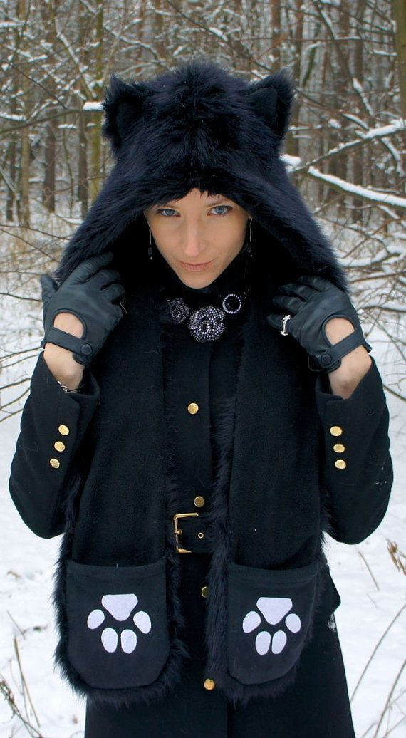 53a0f0dc446 Faux fur wolf hat   hood with ears scarf and pockets by WhiteWoof ...