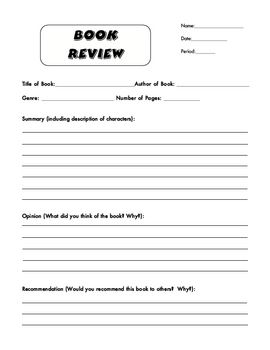 book review form where students fill in basic information about the book and then write three paragraphs 1 summary 2 opinion