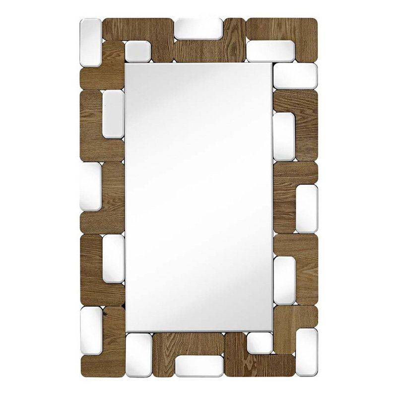 Majestic Rectangular Wood Beveled Glass Hanging Wall Mirror - 2473-B