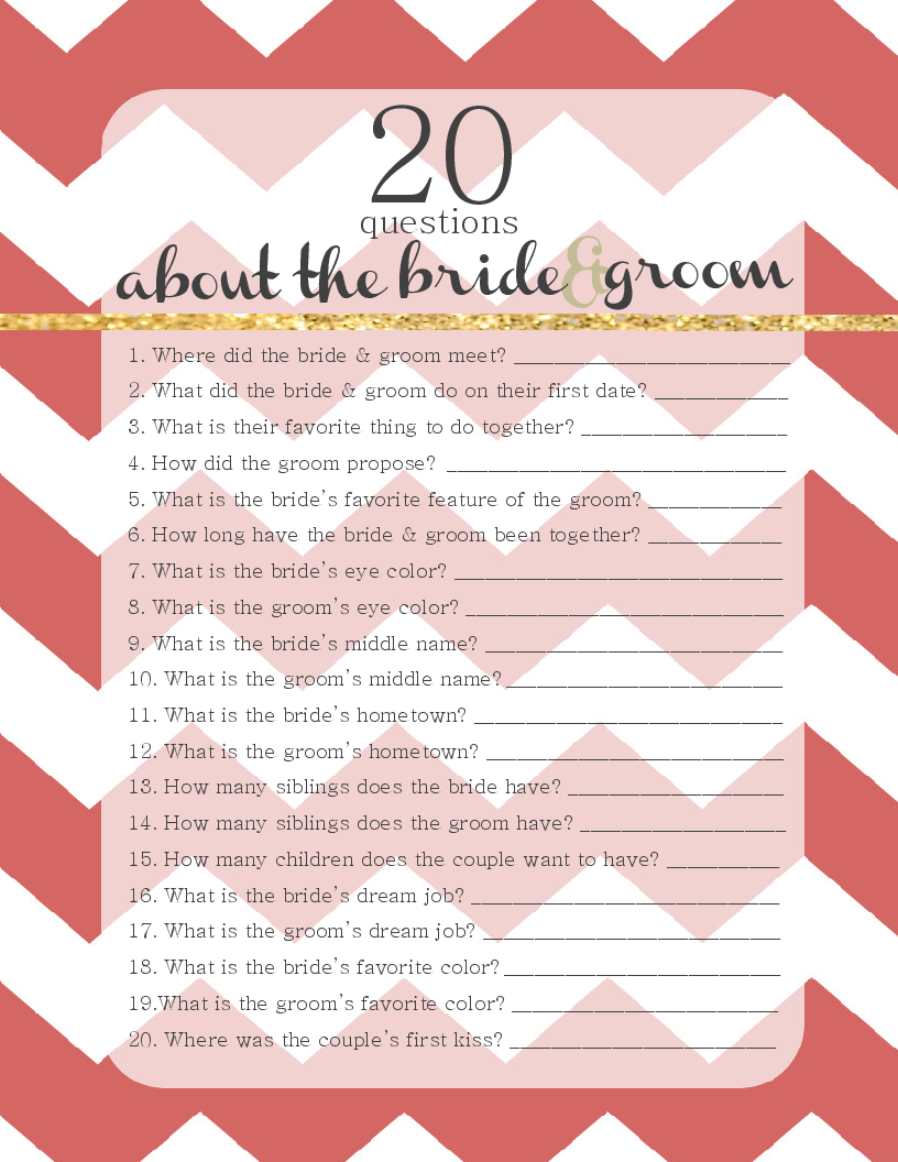20 questions about the bride groom free winter wedding game template