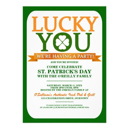 lucky st patricks day party invitations stpatricksday invitations shamrock
