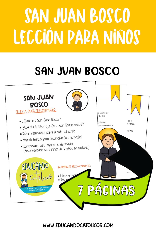 Santos Católicos San Juan Bosco Lección Imprimible Educando Católicos Lección Para Niños Catolico Juan Bosco San Juan