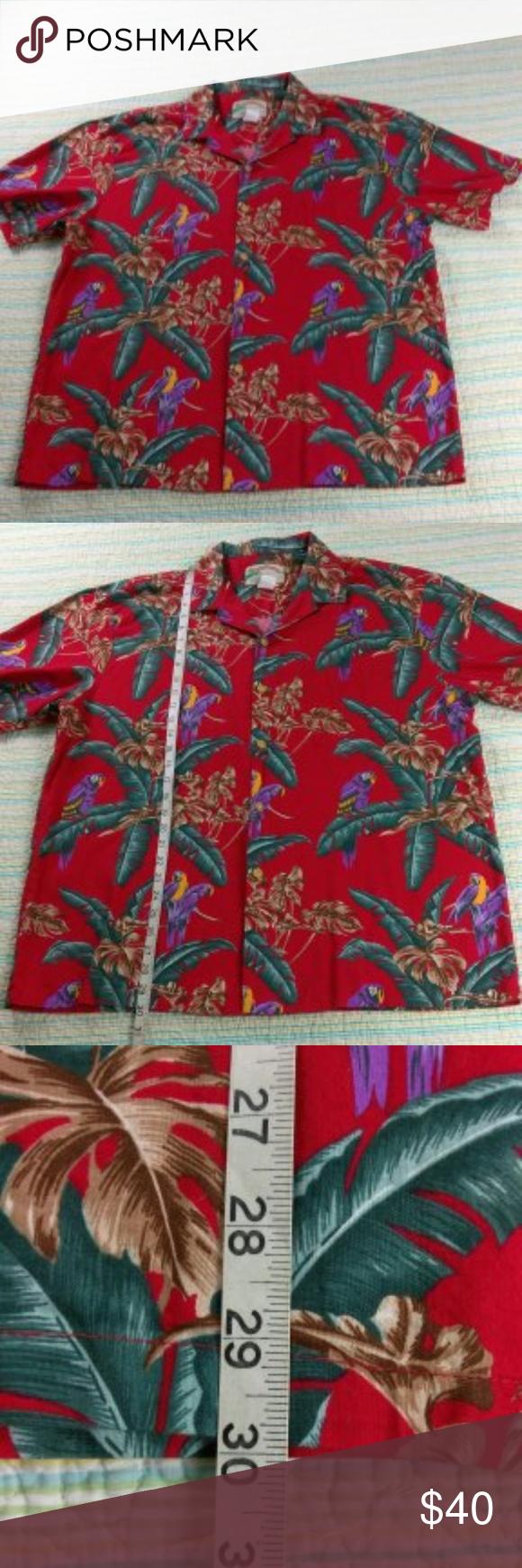 30b33410 Paradise Found XL Magnum PI Jungle Parrot Shirt Paradise Found XL Magnum PI  Jungle Bird Parrot Hawaiian Red Camp Shirt Aloha USA Paradise Found Shirts  ...