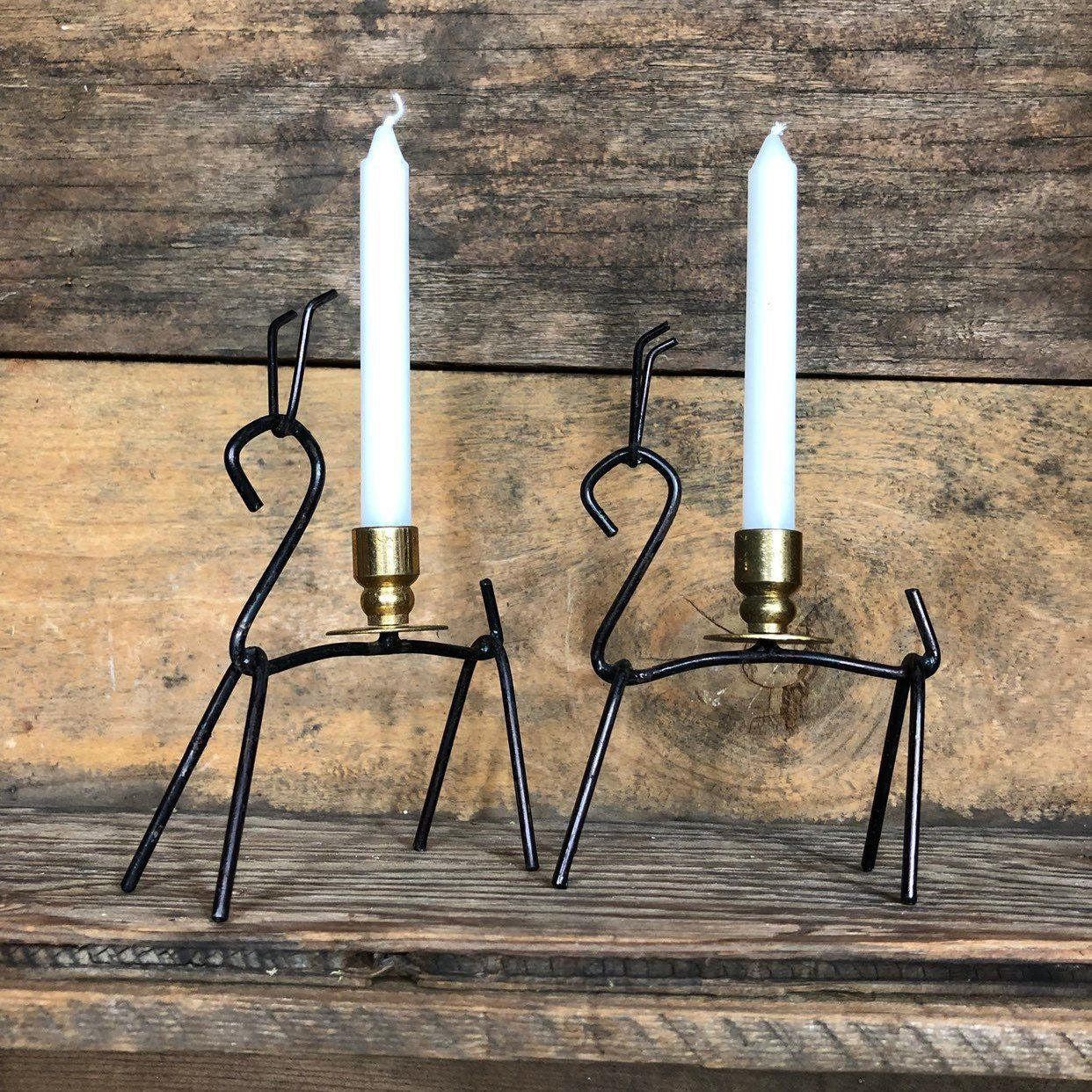 Two Mid Century Modern Scandinavian Metal Candlestick Holders Etsy Vintage Candle Holders Metal Candlestick Holders Metal Candlesticks