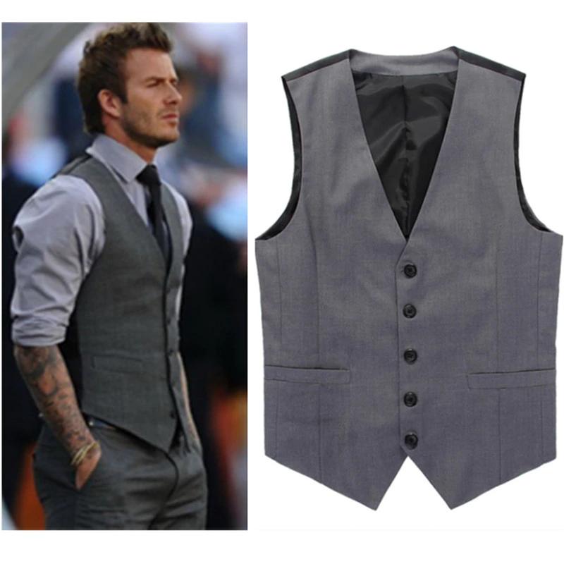 Chalecos Grises De Vestir Ajustados Para Hombre Traje Formal De David Beckham Para Hombre Chalecos De Boda In 2020 Sleeveless Jacket Suit Vest Wedding Mens Suit Vest