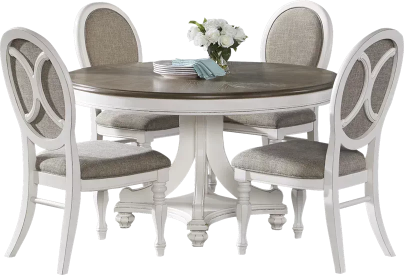 French Market White Round Dining Table Rooms To Go Grey Dining