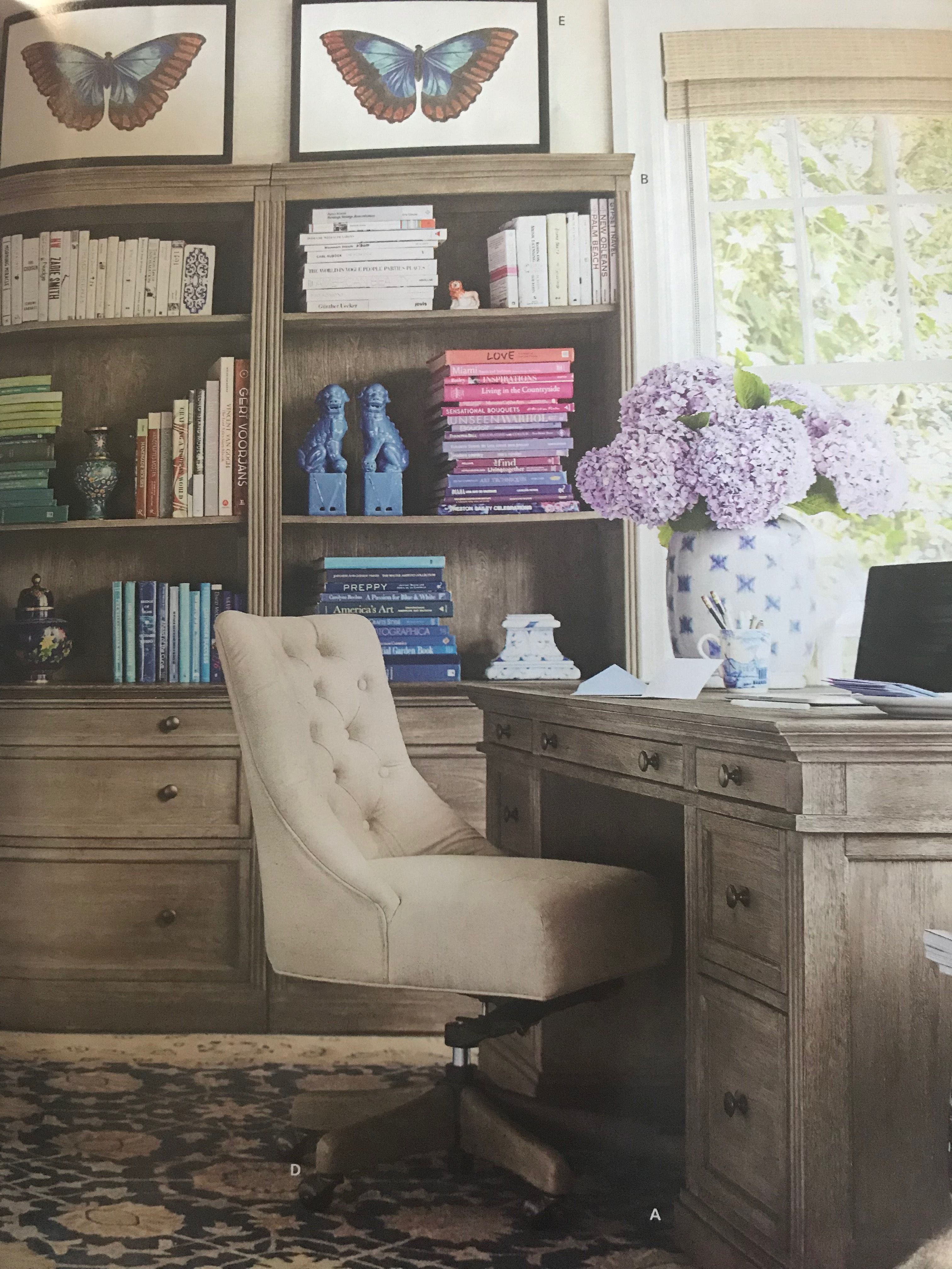 Office dreams! Colors, Wood, rug. pottery barn did it