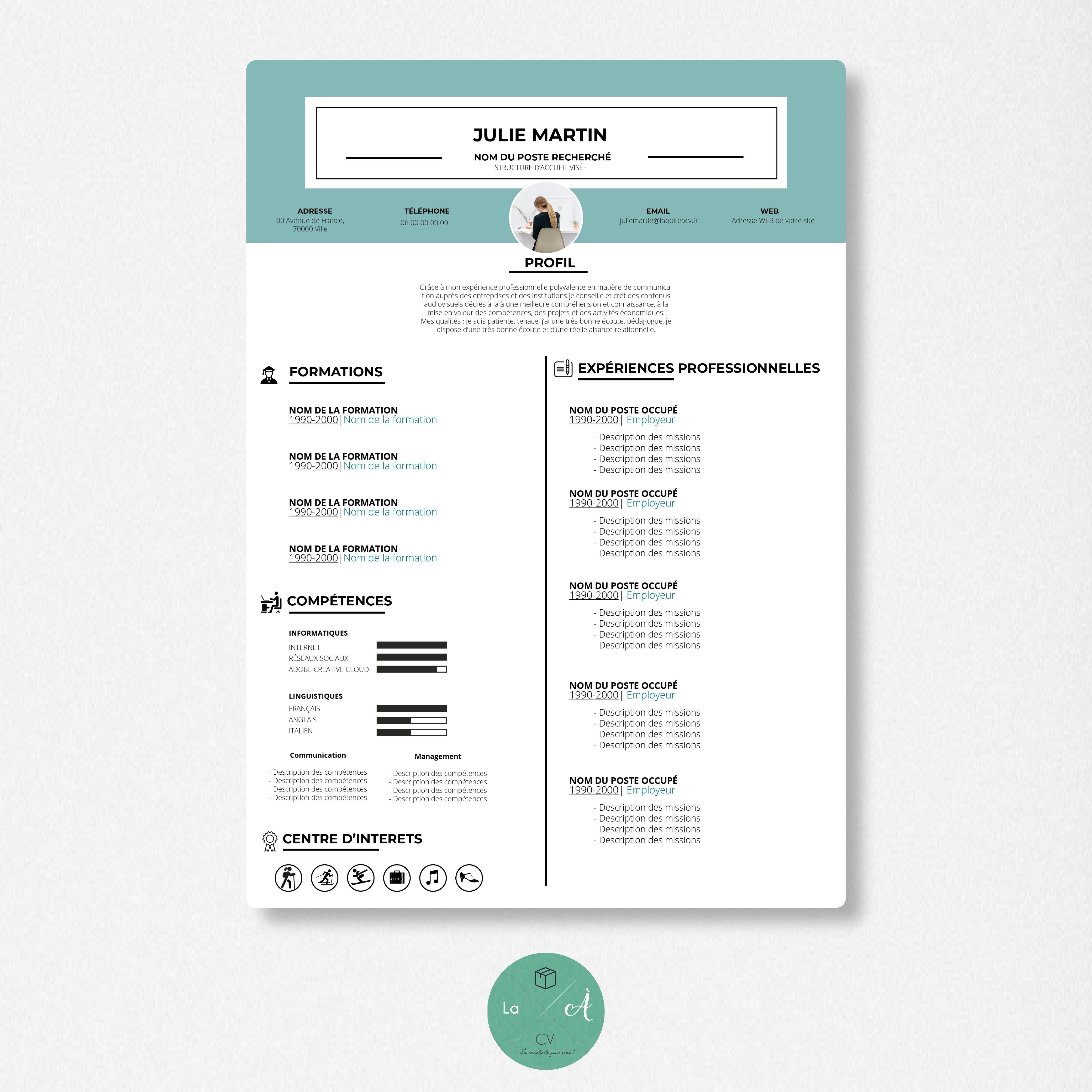 Cv Design Et Personnalise Pas Cher Cv Graphique Disponible En Template A La Boite A Cv Cv Creatif Cv Graphique Curriculum Vitae