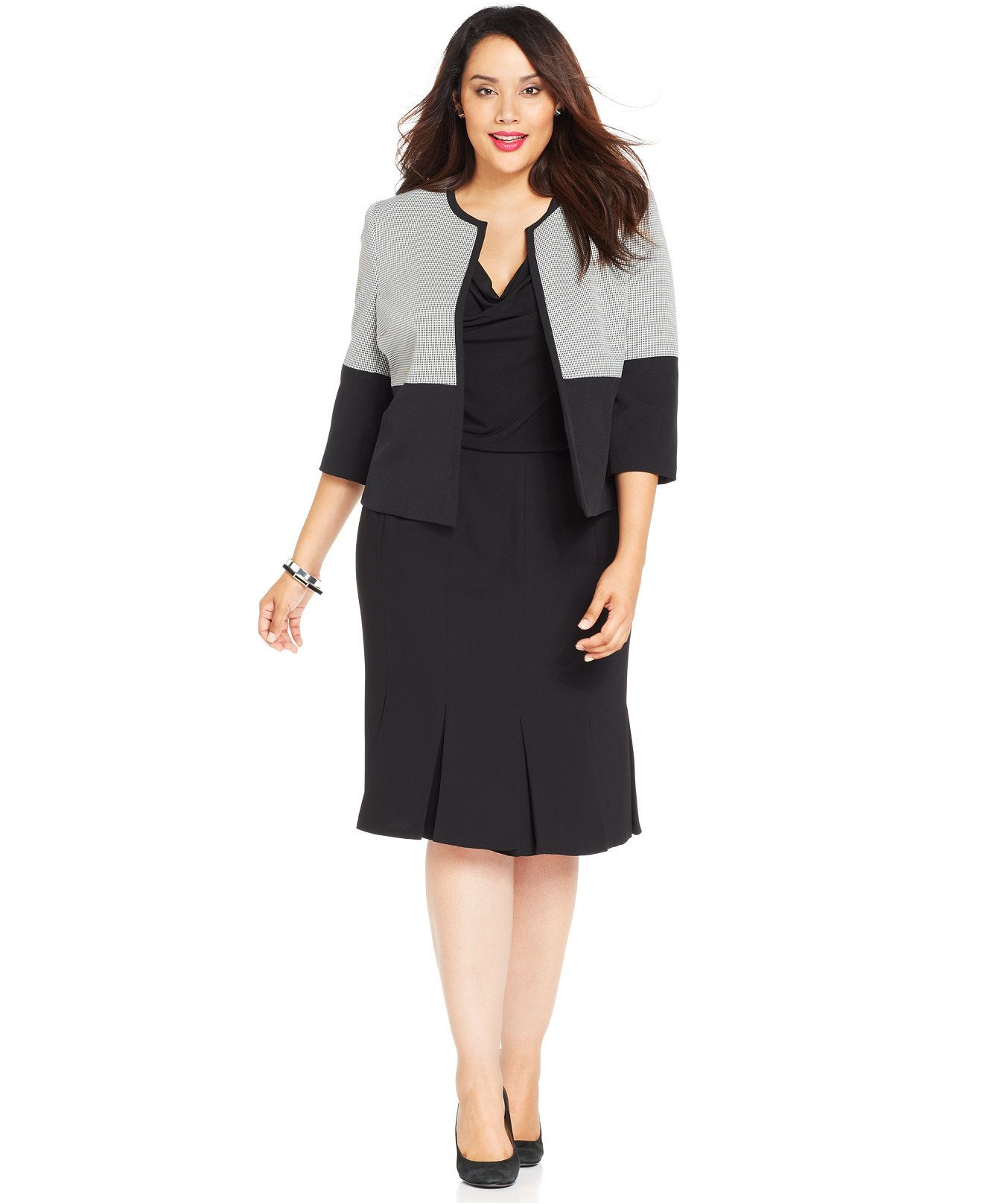 Kasper Plus Size Houndstooth Jacket Cowl Neck Top Pleated Skirt