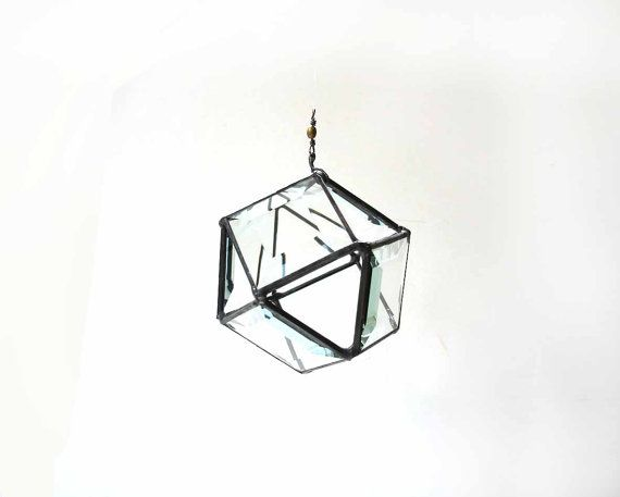 Stained glass hanging orb 3D bevel crystal clear