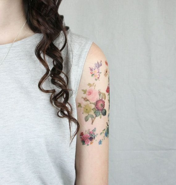 Temporary Tattoos Inspired By Vintage Flower Illustrations