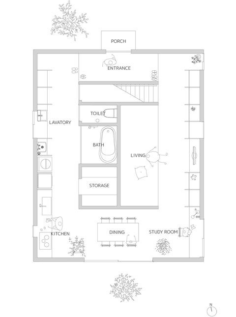 Japanese architecture with warm minimalism japanese for Japanese house floor plan design