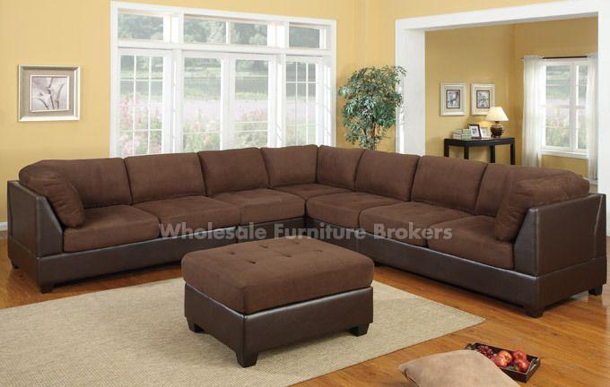 LARGE sectional sofa Orange County II Chocolate Modular ...