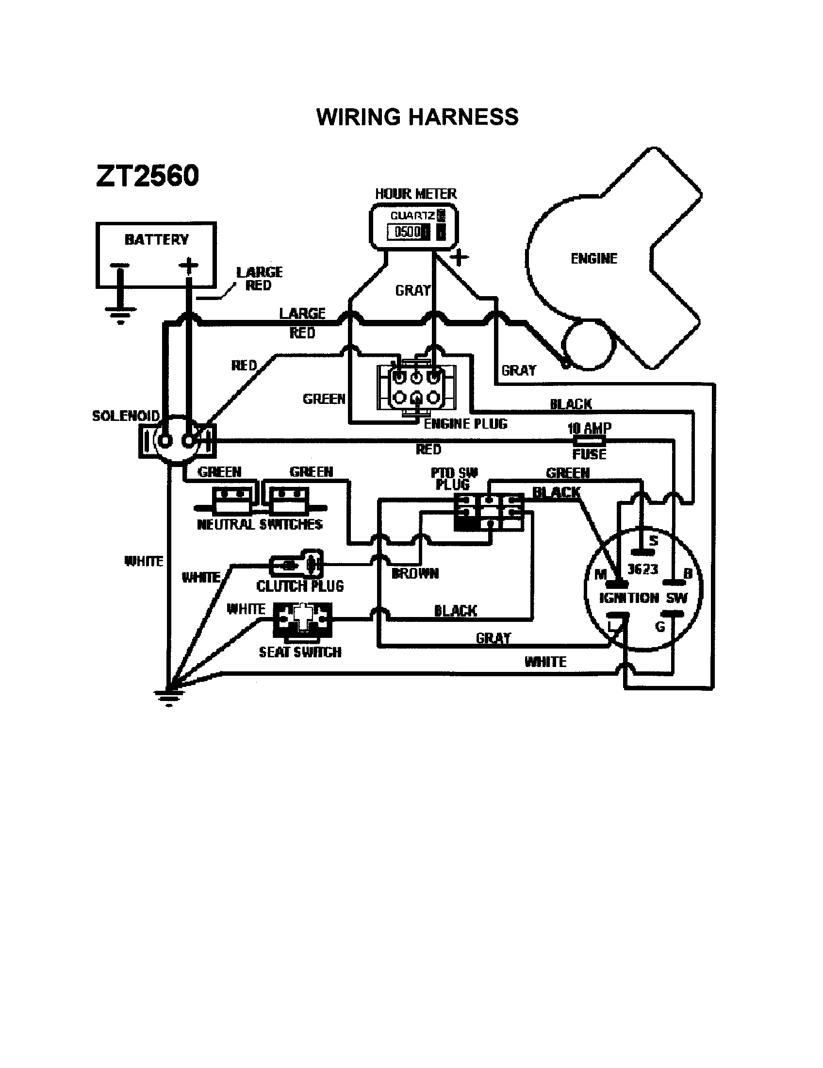Wiring Harness Diagram  U0026 Parts List For Model Zt2560