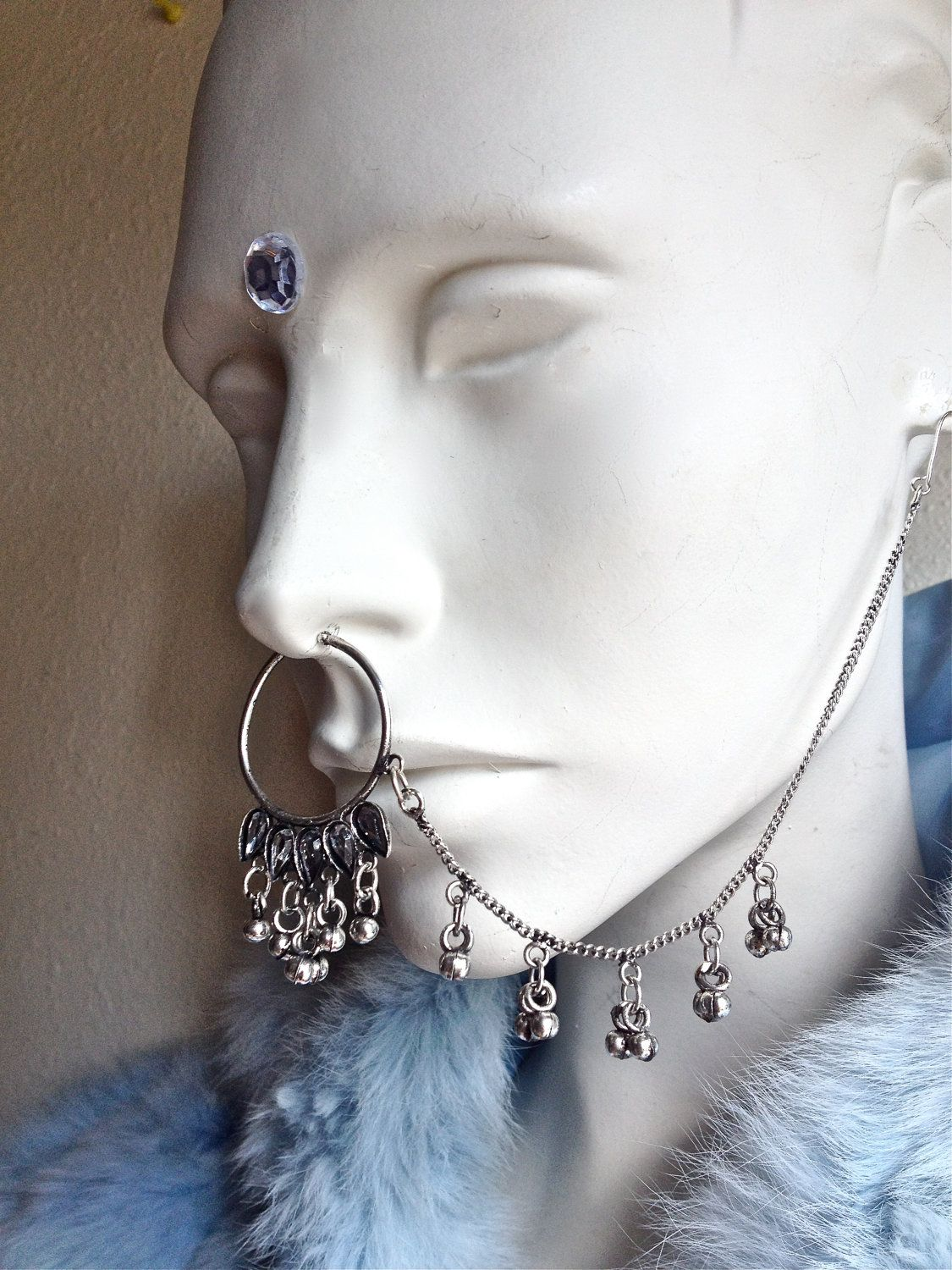 90s nose piercing  us Tribal Nose to Ear Chain Septum Nose Ring with Diamonds and