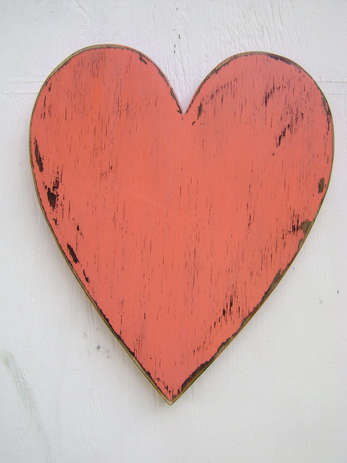 Shabby Chic Rustic Wooden Heart Painted Coral Blush And Distressed Wedding Photo Prop Wood Heart Engagement Wood Hearts Wooden Hearts Engagement Photo Props