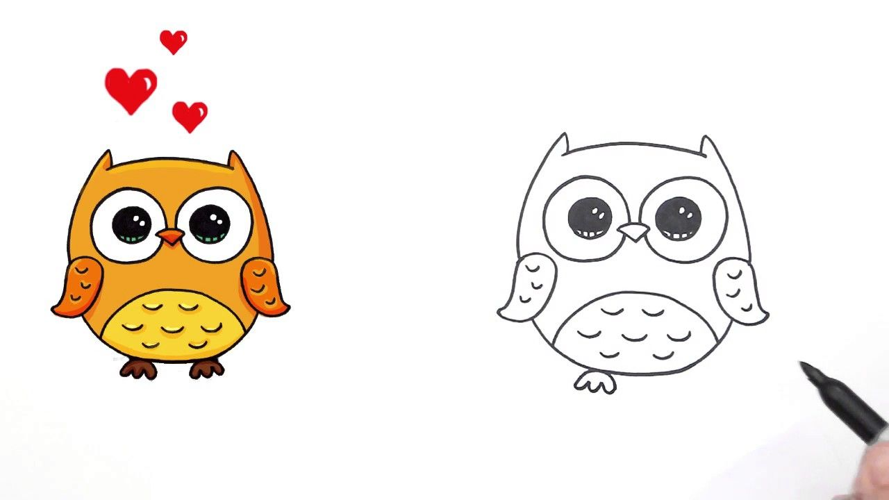 How To Draw Cute Cartoon Owls How To Draw A Cute Cartoon Owl Easy ...