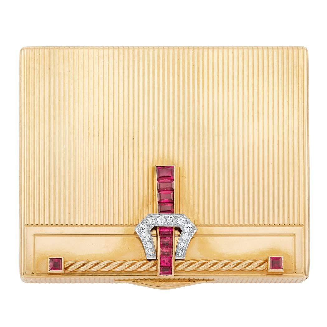 Gold, Platinum, Ruby and Diamond Compact, Tiffany & Co. 14kt, signed Tiffany & Co. circa 1940