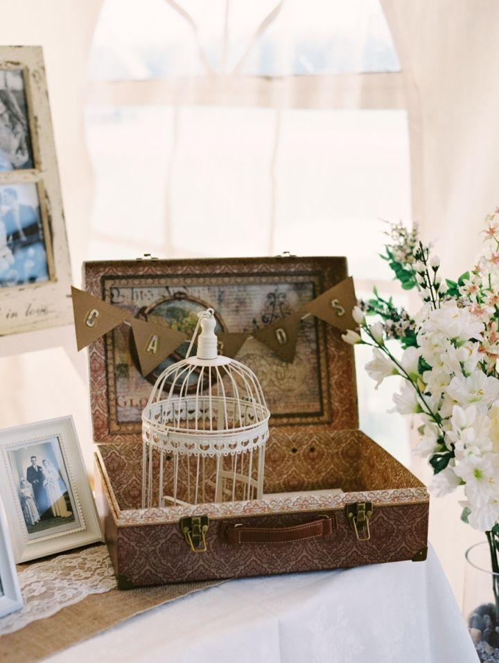 Old suitcase as wedding card box + birdcage for rustic elegance wedding at farm #farmwedding #rusticwedding #rusticelegance #lacewedding