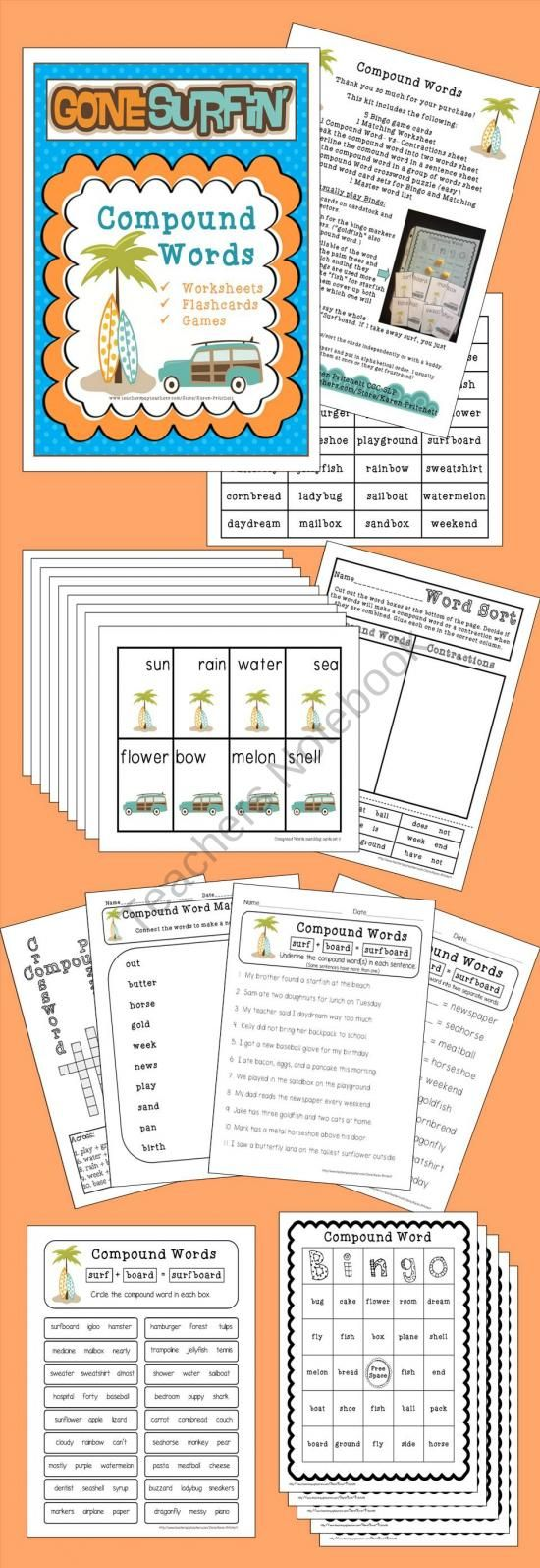 Surf Theme Compound Words Activity Packet From Mrs Pritchett S Printables On Teachersnotebo Compound Words Activities Compound Words Compound Words Worksheets [ 1595 x 550 Pixel ]
