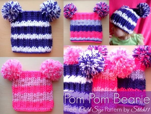 Purple Pom Pom Hat Girls Knitted Double