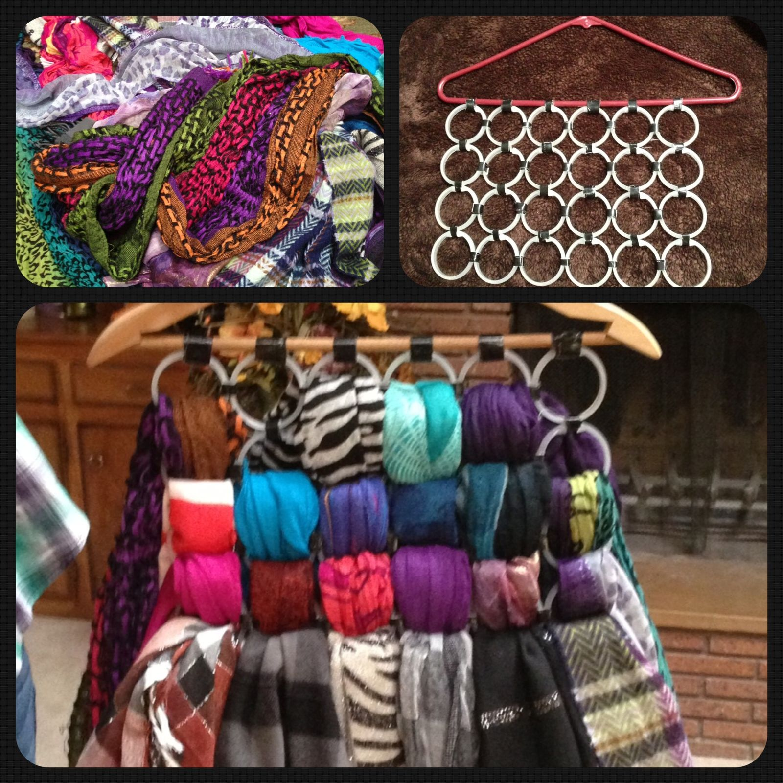 DIY scarf organizer... Use a wooden hanger, duct tape and ...