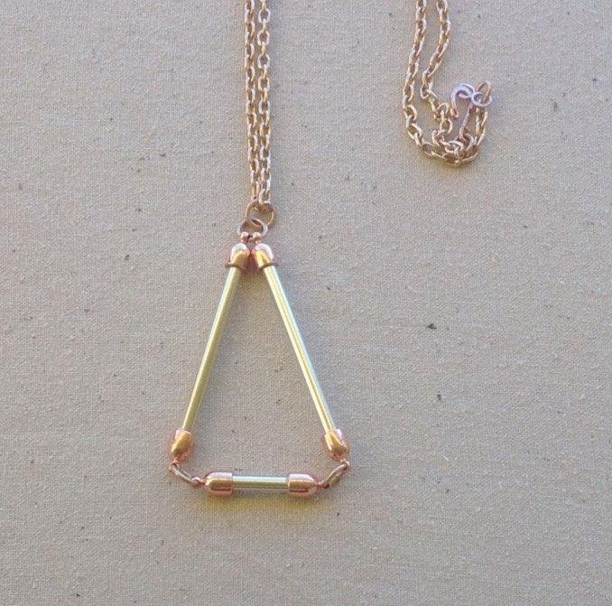 Rose gold triangle pendant necklace handmade from vintage anodised knitting needles by PoppyandBelle on Etsy
