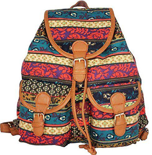 Vintage Women/'s Canvas Travel Rucksack Hobo School Bag Satchel Bookbags Backpack