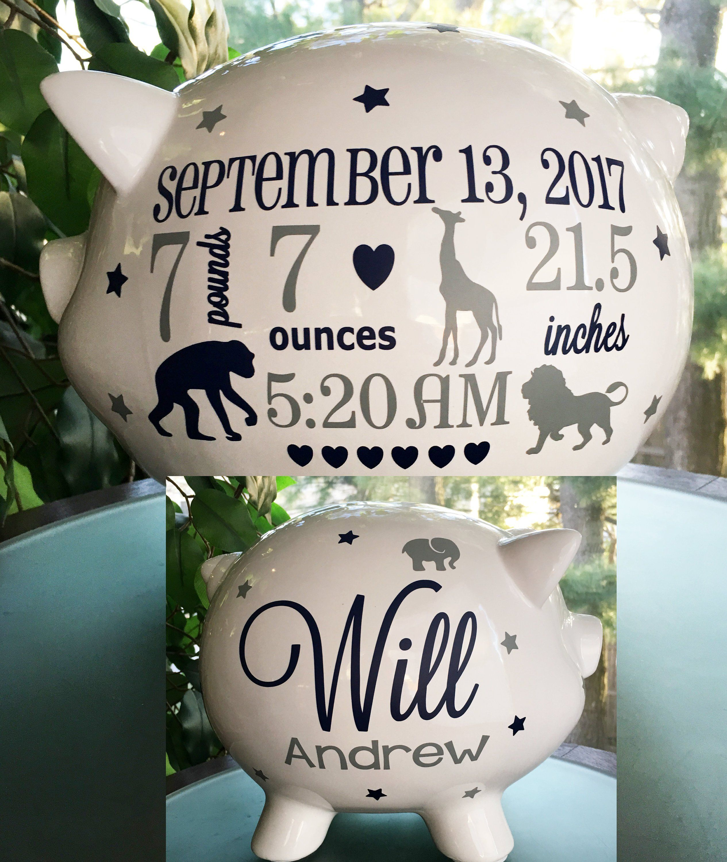 Personalized Piggy Bank For Boys Jungle Theme Baby Boy Piggy Etsy In 2020 Baby Boy Gifts Birth Announcement Vinyl Gifts