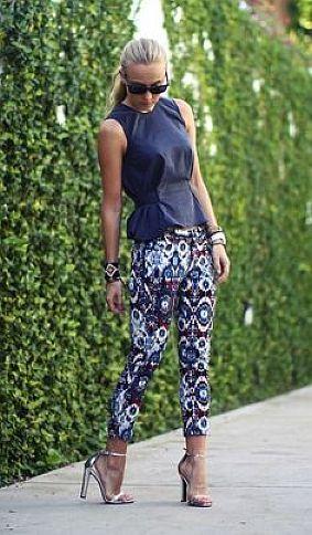 Printed pants + black top
