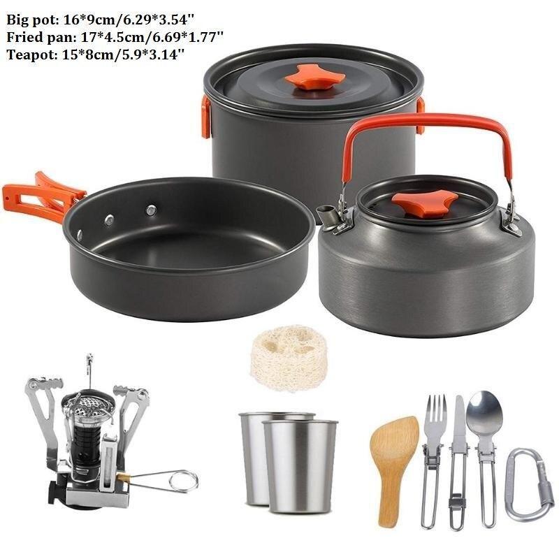 4PCS Camping Cookware Outdoor Camping Tableware Pot Pan Cooking Equipment Set