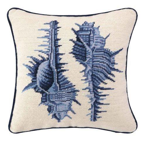 Dark Blue Spiky Seashell Needlepoint Pillow