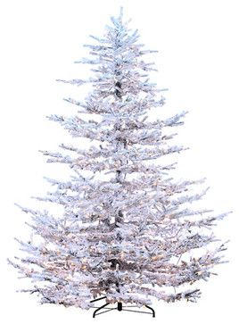 Silk Plants Direct Flocked Pine Tree (Pack of 1) - traditional - Christmas Trees - Silk Plants Direct