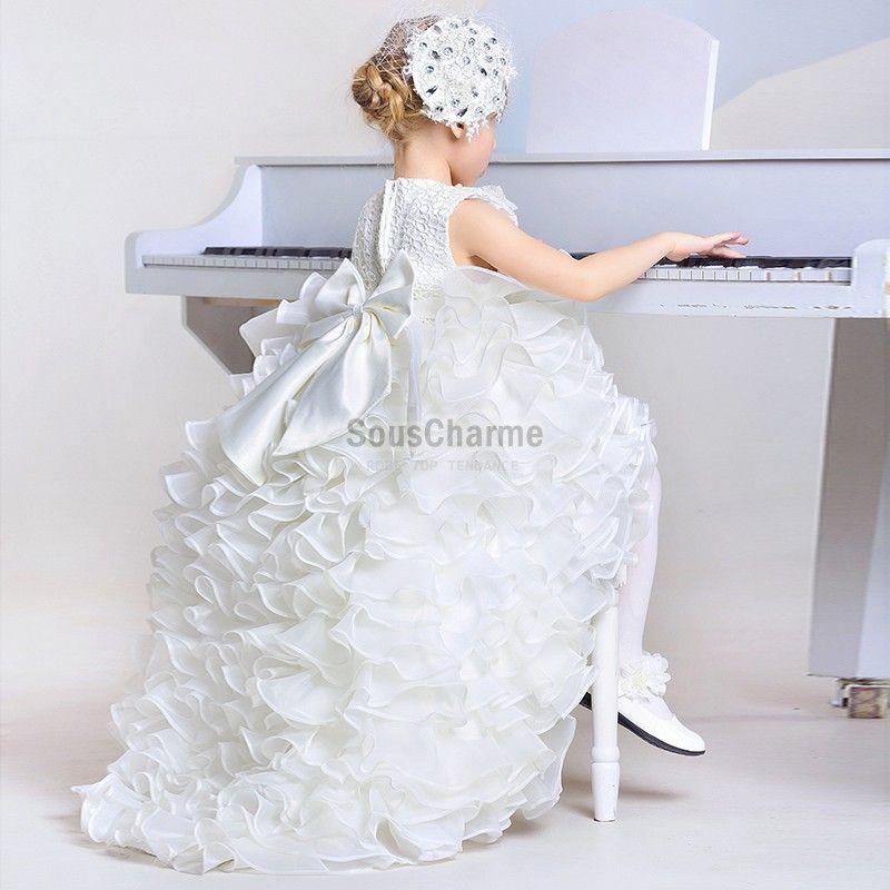 Robe mariage enfant fille princesse pas cher en dentelle for Robe de chambre enfant avec matelas cher