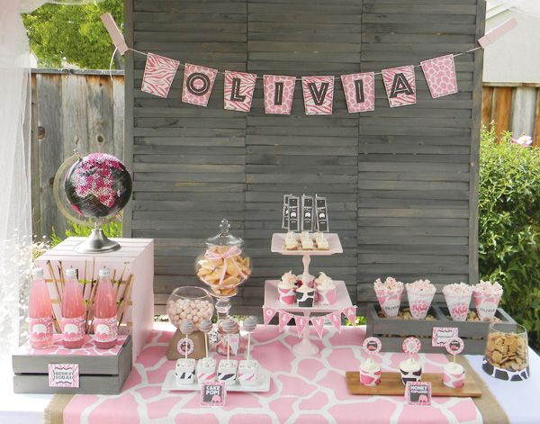 posh  pink safari baby shower  dessert table, safari and dark grey, Baby shower invitation