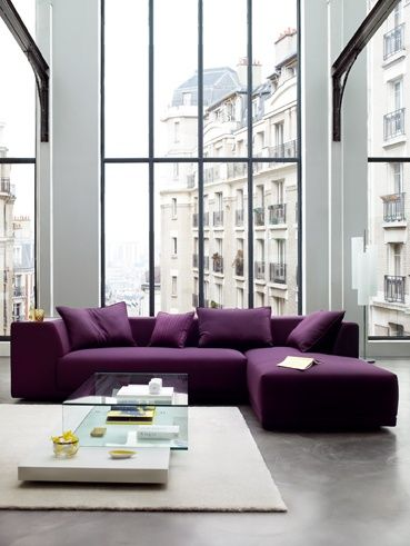 Wonderful Livingrrom Design Idea With Huge Size Glass Windows And Square  Shaped White Carpet Floor And. Small L Shaped CouchPurple ... Idea