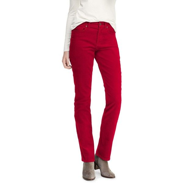 bb12cdd55a9eb Lands  End Women s Mid Rise Straight Leg Corduroy Pants ( 59) ❤ liked on Polyvore  featuring pants