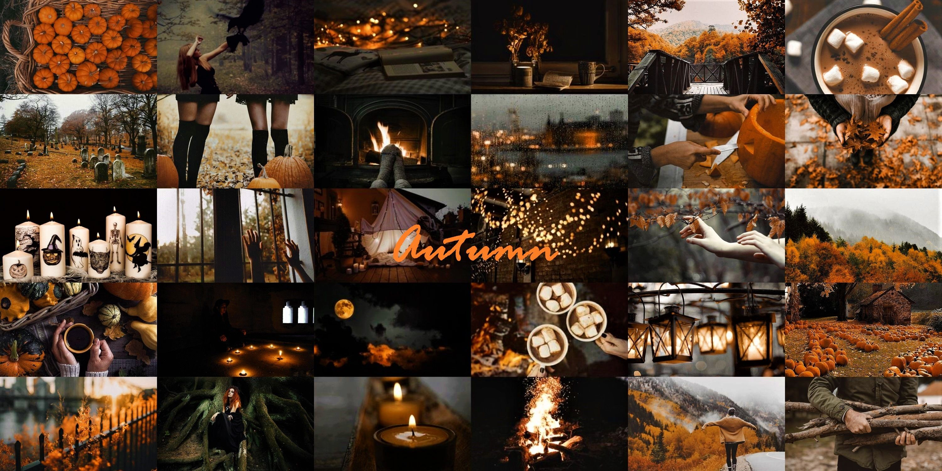 Autumn Fall Halloween Aesthetic Collage Aesthetic Collage Desktop Wallpaper Laptop Wallpaper Desktop Wallpapers