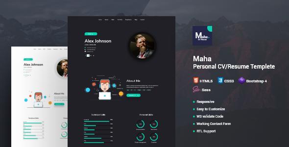 Online Resume Html Template.Maha Cv Resume Html Template Maha Cv Resume Template Is