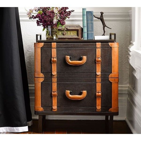 Pottery Barn Ken Fulk Luggage Bedside Table ($899) ❤ liked on Polyvore featuring home, furniture, storage & shelves, nightstands, pottery barn furniture and pottery barn