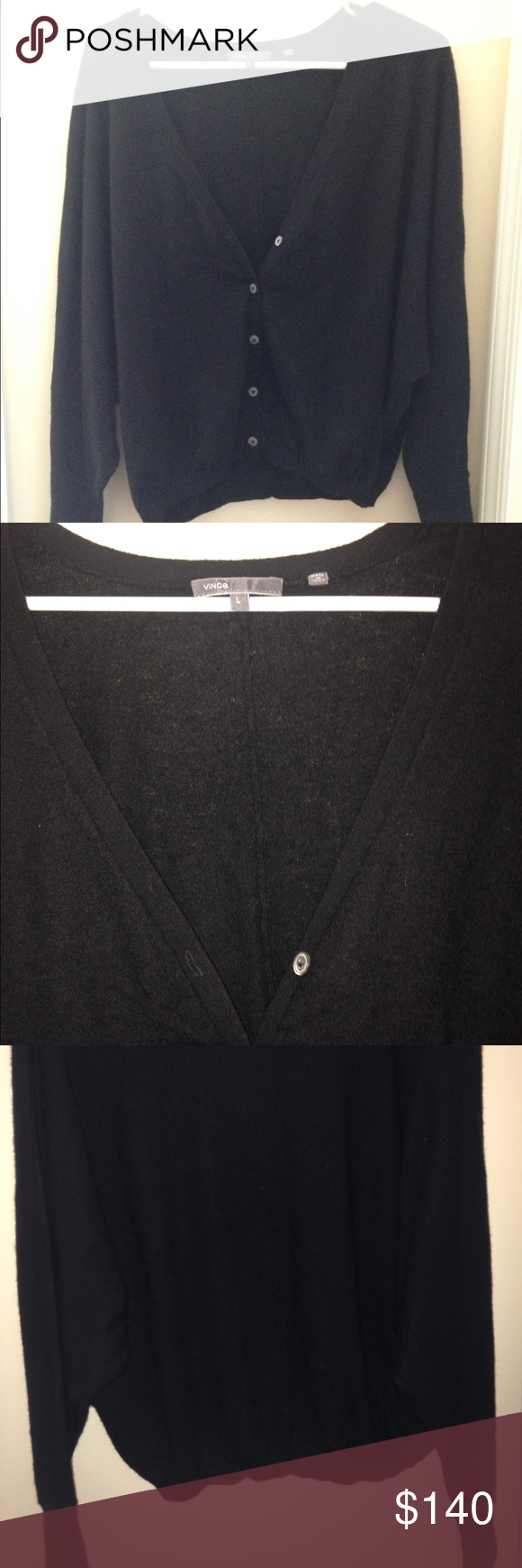 Vince cashmere cardigan Classic black cardigan. 100% cashmere. Barely worn Vince Sweaters Cardigans