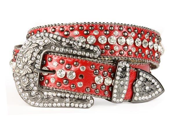 9dacd18c1e Women's Rhinestone Studded Belt w/ Western Buckle - Red $74.99 + ...