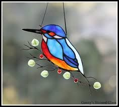 Image result for stained glass kingfisher