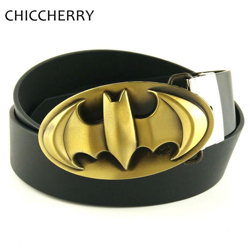 Costume New Black Batman Superhero Western Mens Metal Belt Buckle faux Leather