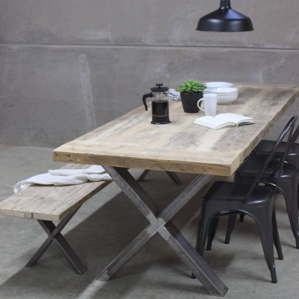 Xavier Reclaimed Wood Dining Table With Steel X Frame Reclaimed