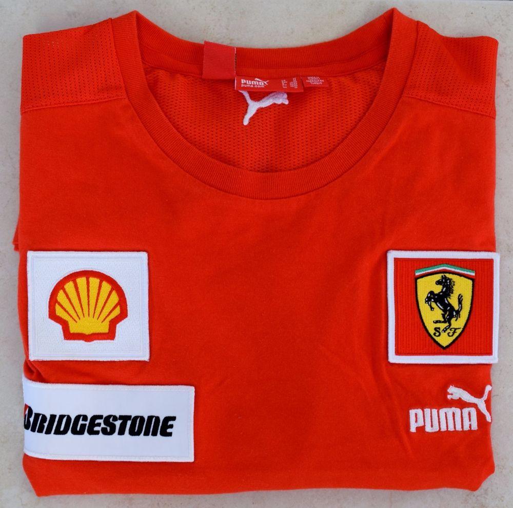 Official Puma Scuderia Ferrari Man S Red T Shirt Bridgestone Shell